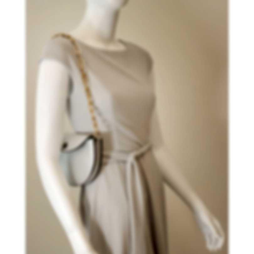 Burberry Metallic Silver & Emerald Leather Shoulder Handbag 8005882