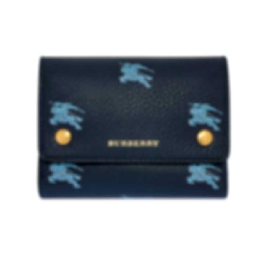 Burberry Knight's Equestrian Regency Blue Leather Wallet Handbag 8007755