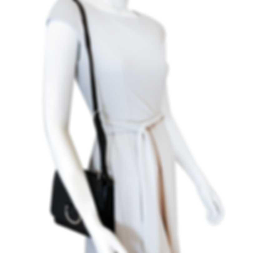 Burberry D-ring Black & Turquoise Leather Shoulder Handbag 8010540