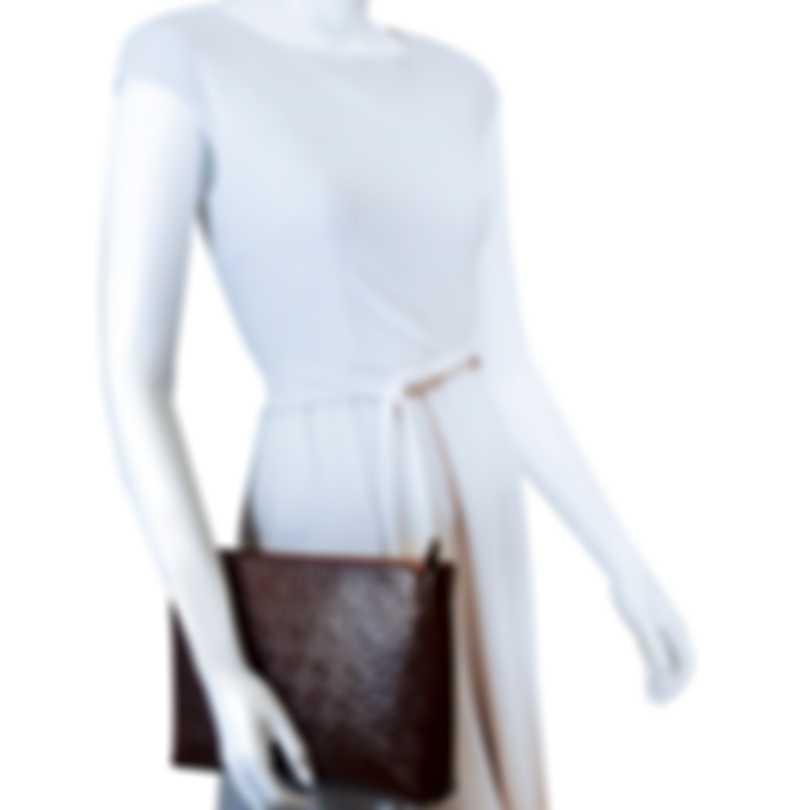 Burberry Monogram Leather Clutch Oxblood & Flaxseed Handbag 8011345