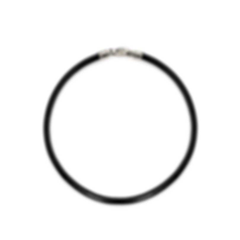 Bvlgari Bvlgari Black Leather And Steel Cord Necklace CL176516