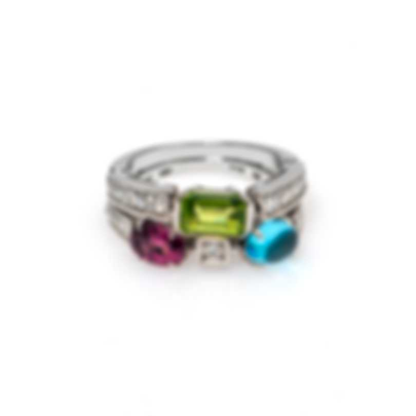 Bvlgari Allegra 18k Yellow Gold Diamond Tourmaline Peridot And Blue Topaz Ring Sz 7.5 AN852712