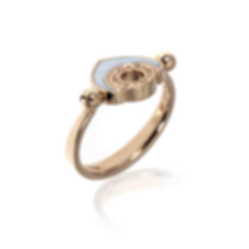 Bvlgari Bvlgari 18k Rose Gold Mother Of Pearl Ring AN857851 Sz 6.5