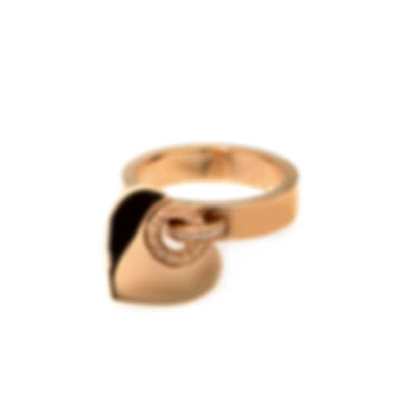 Bvlgari Cuore 18k Rose Gold Diamond Heart Ring Sz 7 AN857219-1