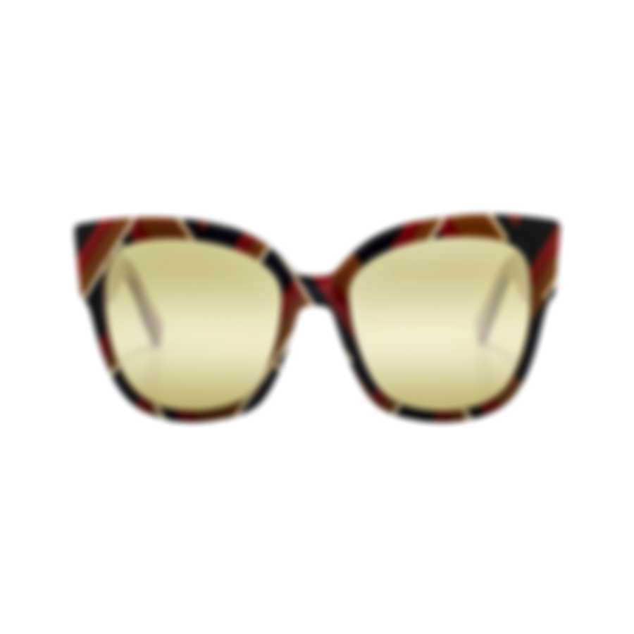 Gucci Novelty Shiny Chevron Mustard/Blue Women's Sunglasses GG0059S-30001027003