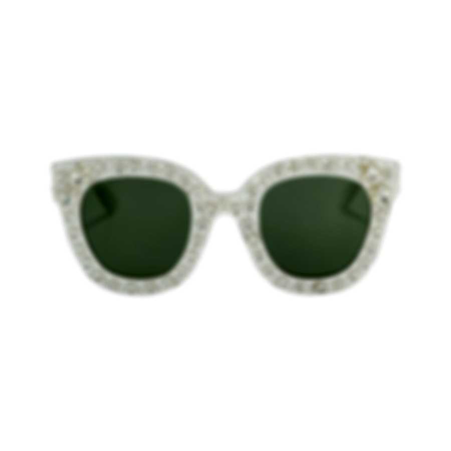 Gucci Special Edition White White Green Women's Sunglasses GG0116S-30001563004