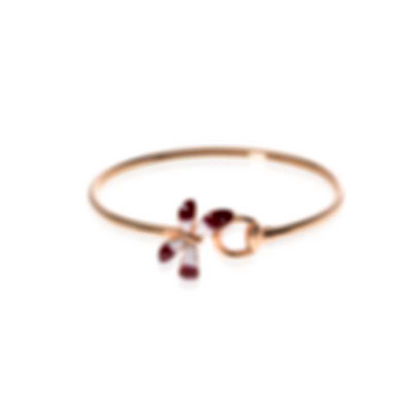 Gucci Flora 18k Rose Gold And Enamel Butterfly Bangle Bracelet YBA389132001016