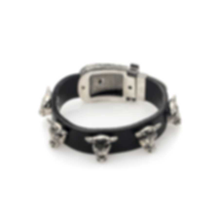 Gucci Anger Forest Sterling Silver And Leather Bracelet YBA524892001017