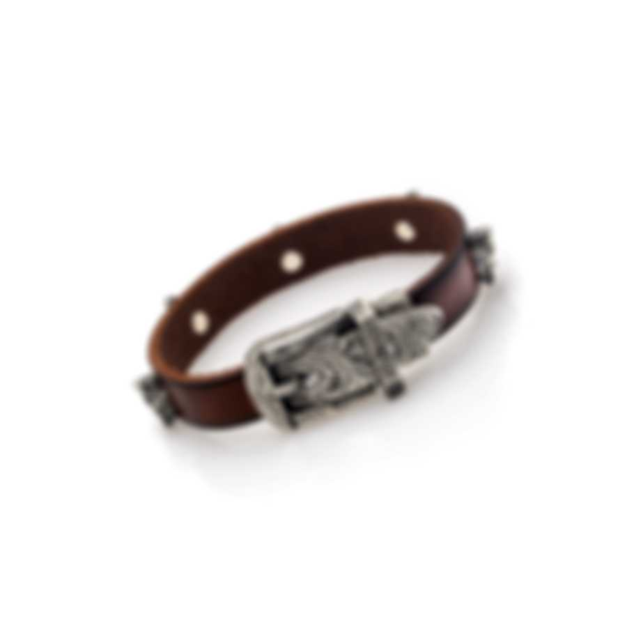 Gucci Anger Forest Sterling Silver And Leather Bracelet YBA524907001016
