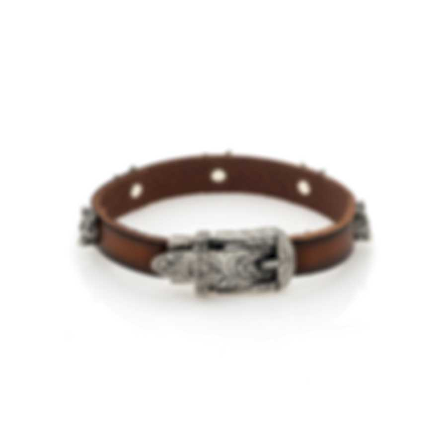 Gucci Anger Forest Sterling Silver And Leather Bracelet YBA524907001018