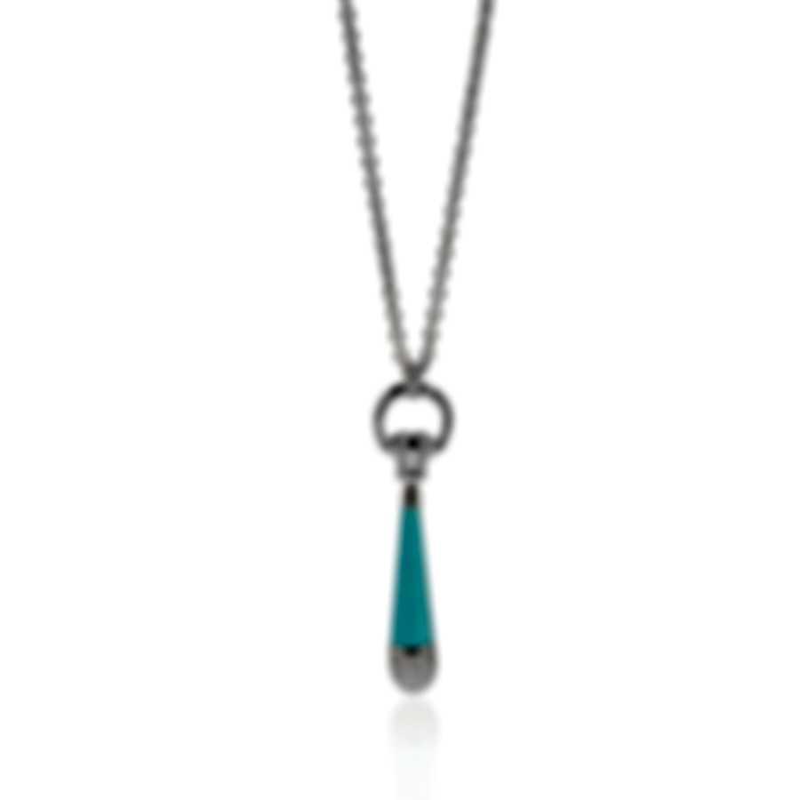 Gucci Horsebit 18k White Gold Diamond 2.683ct & Turquoise Necklace YBB272905003