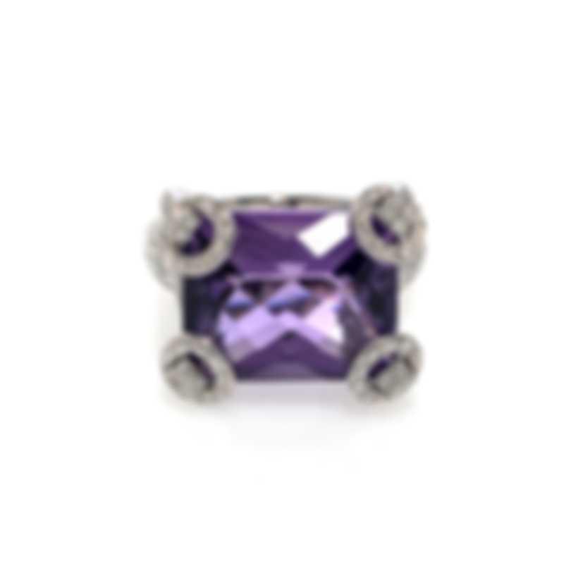 Gucci Horsebit 18k White Gold Diamond 0.9ct & Amethyst Ring Sz 6.5 YBC140592001