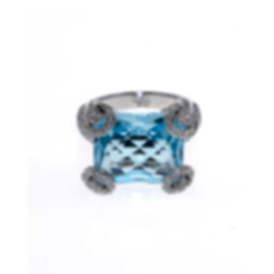 Gucci Horsebit Cocktail 18k White Gold Diamond & Topaz Ring Sz 7.25 YBC140592002
