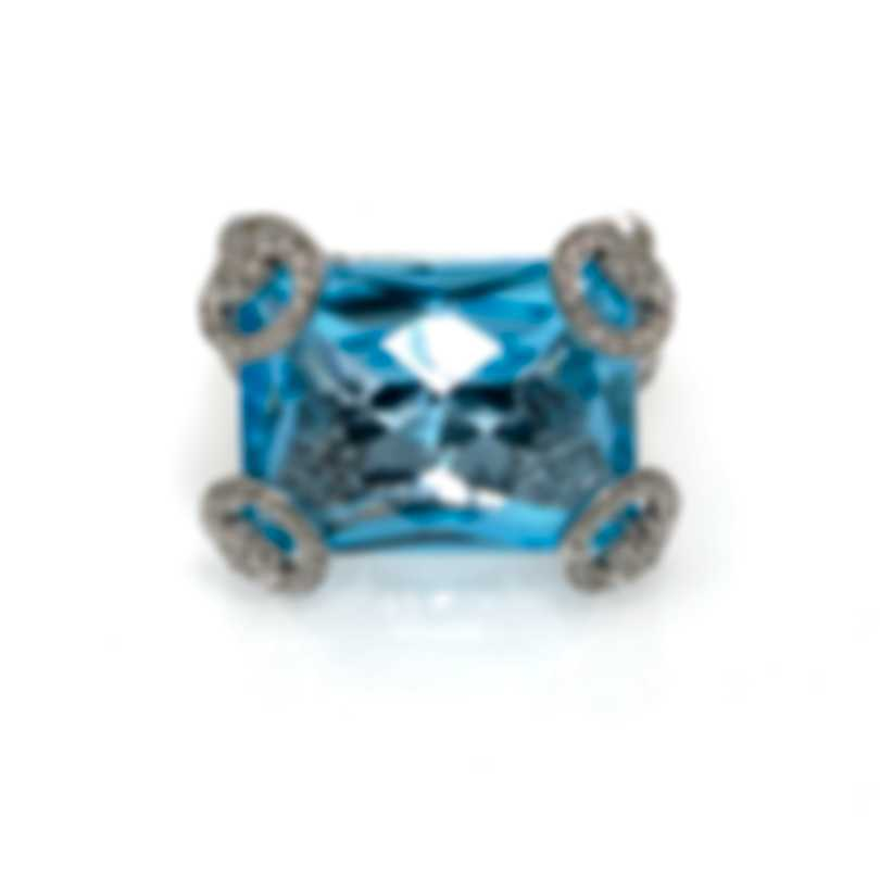 Gucci Horsebit 18k White Gold Diamond 1.507ct & Topaz Ring Sz 7.25 YBC139375002