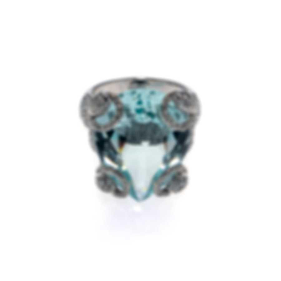 Gucci Horsebit 18k White Gold Diamond 1.99ct & Beryl Ring Sz 6.5 YBC235916001013