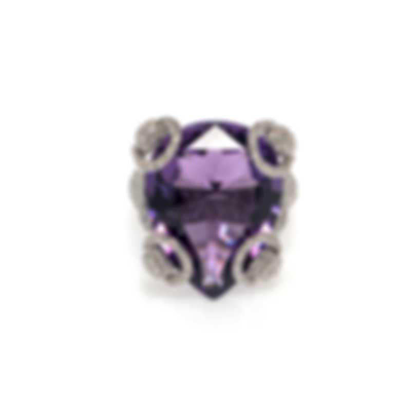 Gucci Horsebit 18k White Gold Diamond 1.989ct Amethyst Ring Sz 6.75 YBC235916003