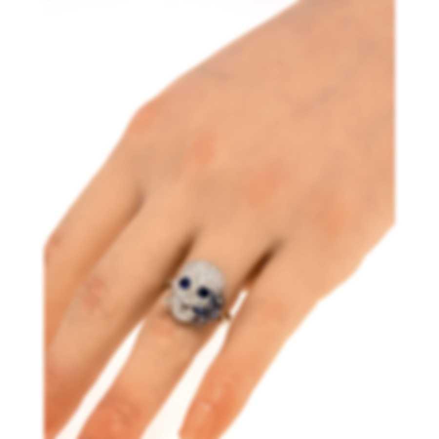 Gucci Flora 18k White Gold Diamond 1.61ct & Sapphire Ring 5.75 YBC389105001011