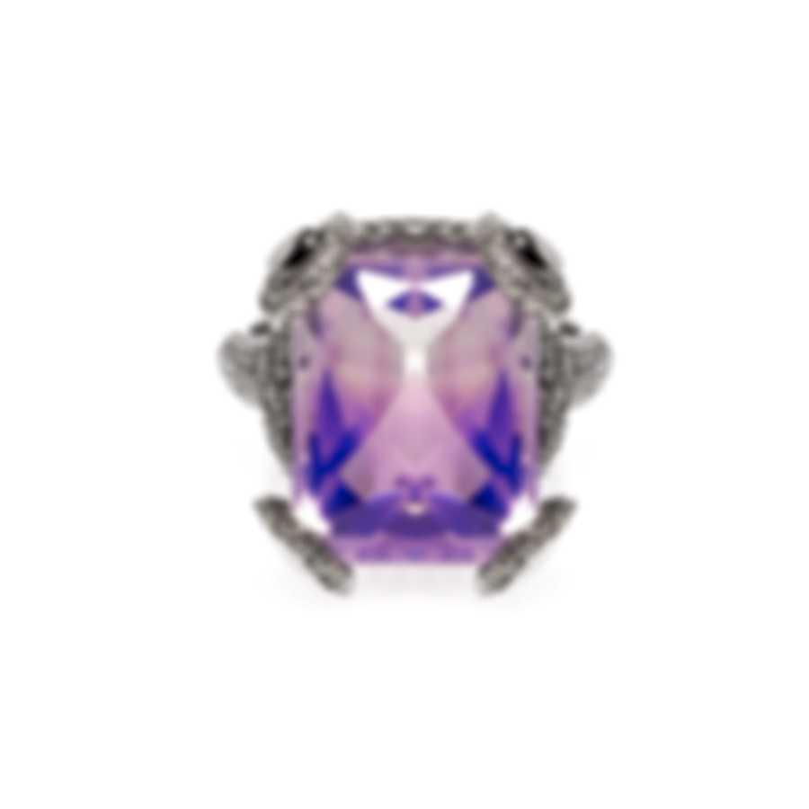 Gucci Horsebit 18k White Gold Diamond 1.989ct Quartz Ring Sz 6.75 YBC310109001