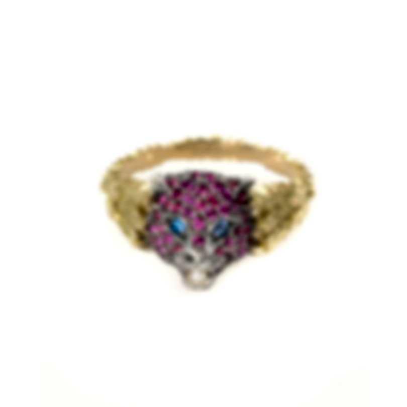 Gucci 18k Yellow Gold, Silver And Topaz Les Marche Des Merveilles Ring Sz 6 YBC459209003012