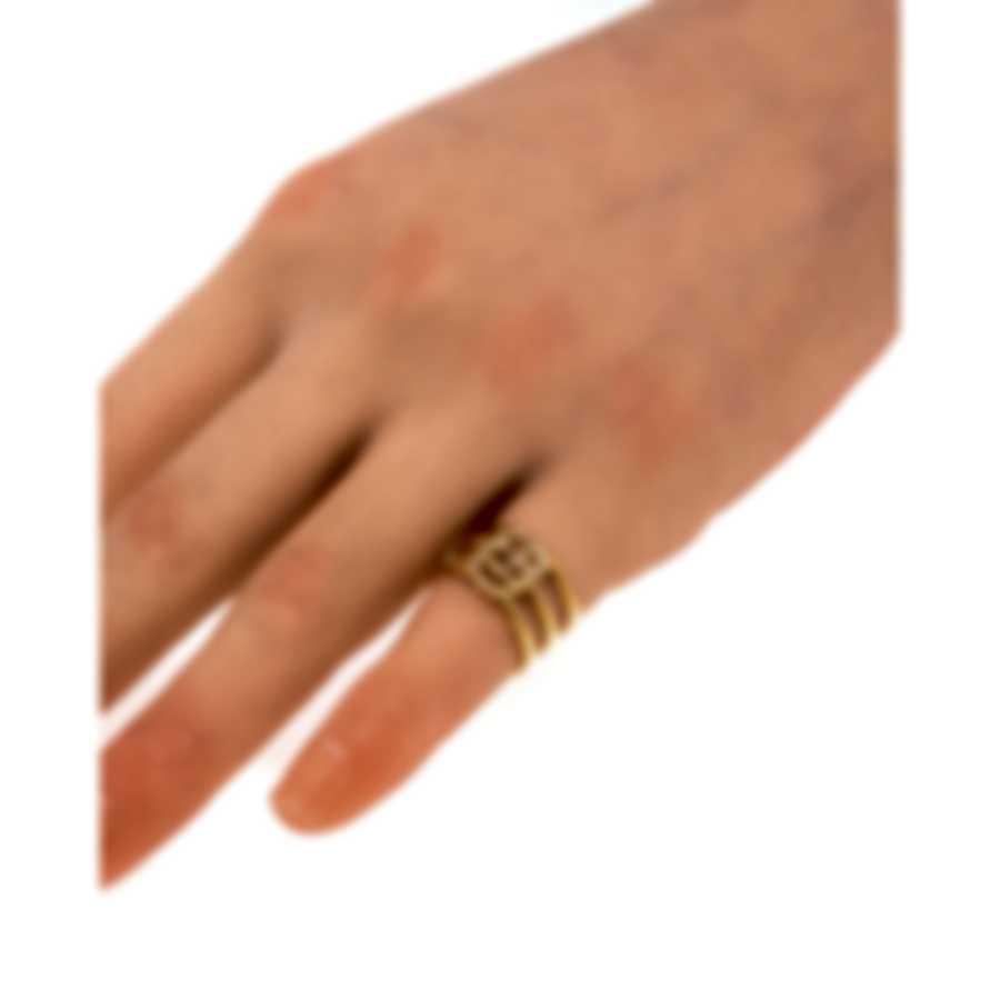 Gucci Running G 18k Yellow Gold Diamond 0.124ct Ring Sz 4 YBC481653001007