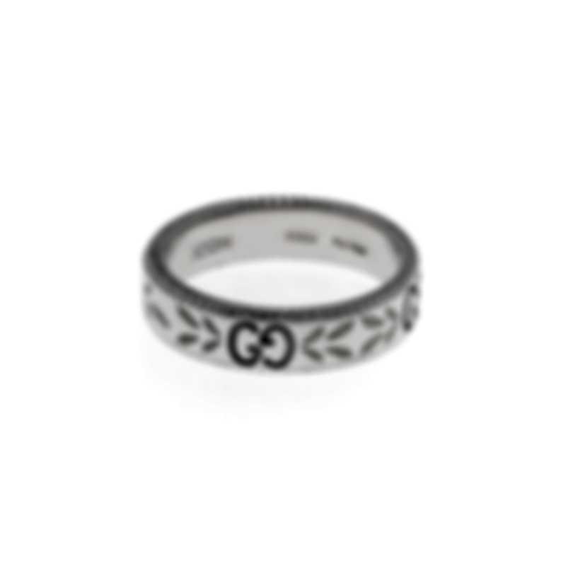 Gucci Icon 18k White Gold And Enamel Ring Sz 4.5 YBC434541003008