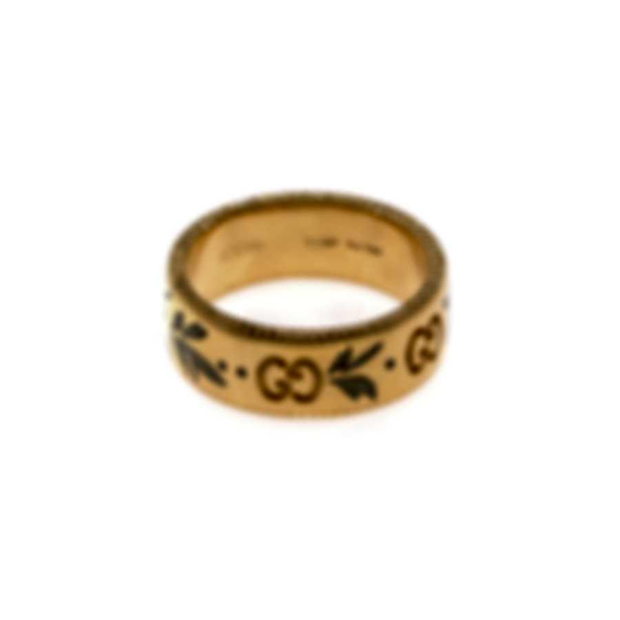 Gucci Icon 18k Yellow Gold And Enamel Ring Sz 4.5 YBC434525001008