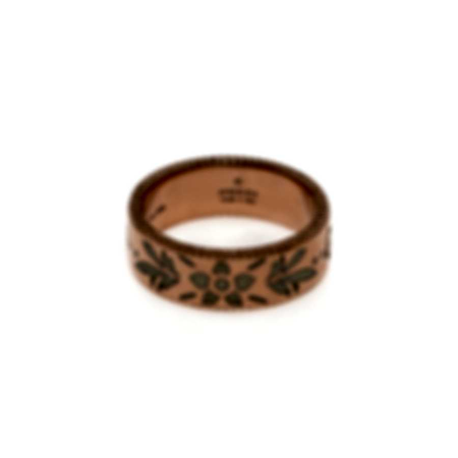 Gucci Icon 18k Rose Gold And Enamel Ring Sz 4.5 YBC434525002008