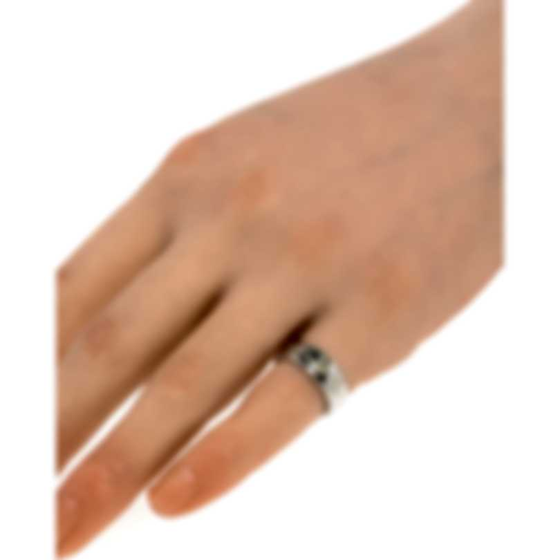 Gucci Icon 18k White Gold And Enamel Ring Sz 3.75 YBC434525003006