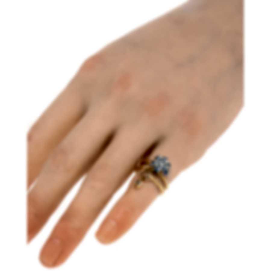 Gucci Gucci Flora 18k Rose & White Gold Diamond & Sapphire Ring Sz4 YBC434757001