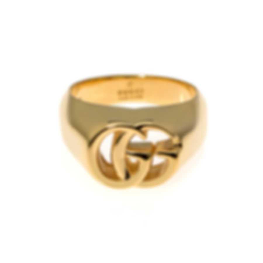 Gucci Running G 18k Yellow Gold Signet Style Ring Sz 7.25 YBC525727001015
