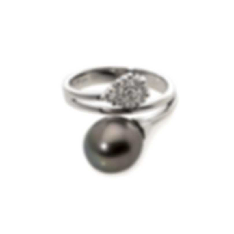 Damiani Le Perle 18k White Gold Diamond 0.27ct And Pearl Ring Sz 7.5 20016940