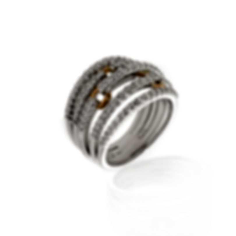 Damiani 18k White And Rose Gold Diamond 1.04ct Ring Sz 7.25 20037125
