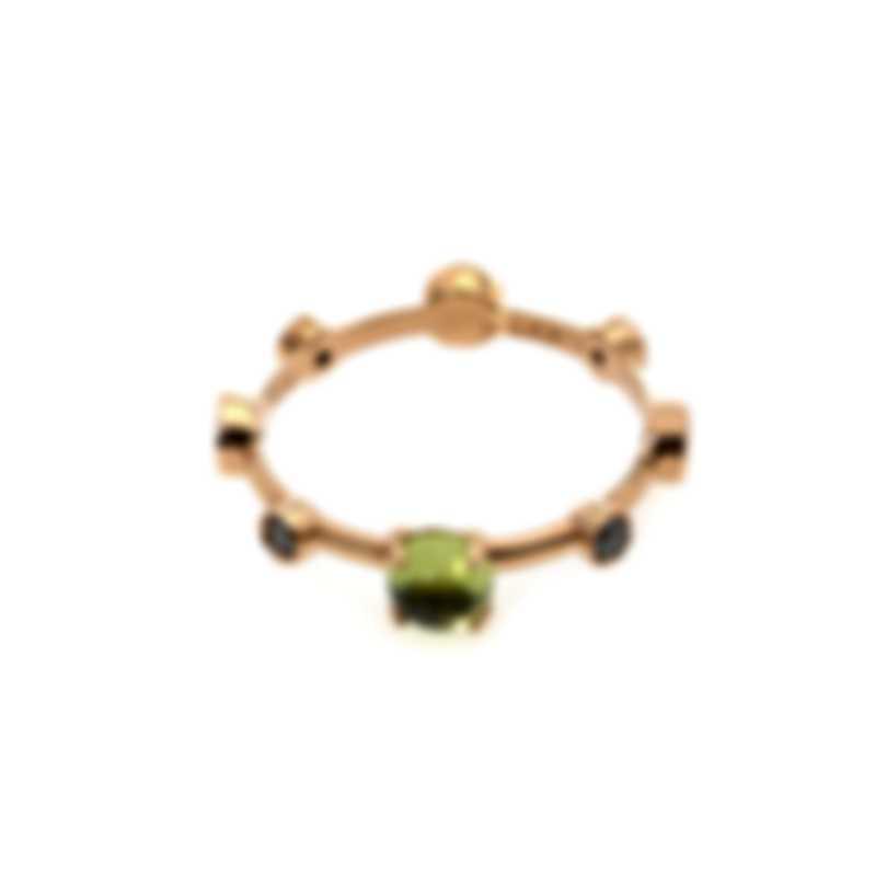 Damiani Moon Drops 18k Rose Gold Diamond 0.32ct And Peridot Ring Sz 7.75 20042984