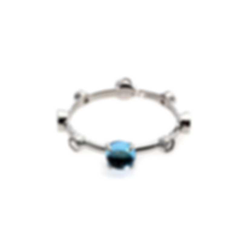 Damiani Moon Drops 18k White Gold Diamond 0.23ct And Topaz Ring Sz 8.25 20042267