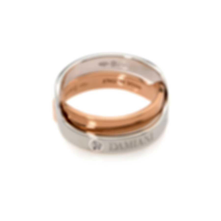 Damiani Abbracio 18k White Gold And 18k Rose Gold Diamond 0.005ct Ring Sz 6.25 - 20045730