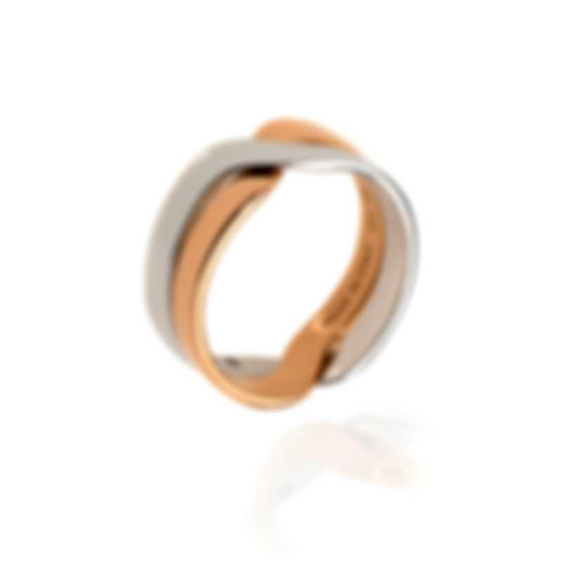 Damiani Abbracio 18k White & Rose Gold Diamond Accent Ring Sz 7.25 20045733