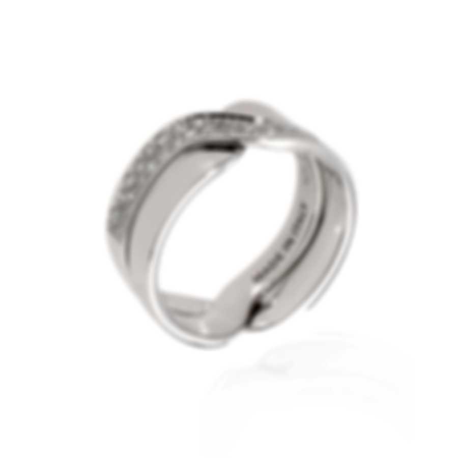 Damiani Abbracio 18k White Gold Diamond 0.18ct Ring Sz 4.75 20045744