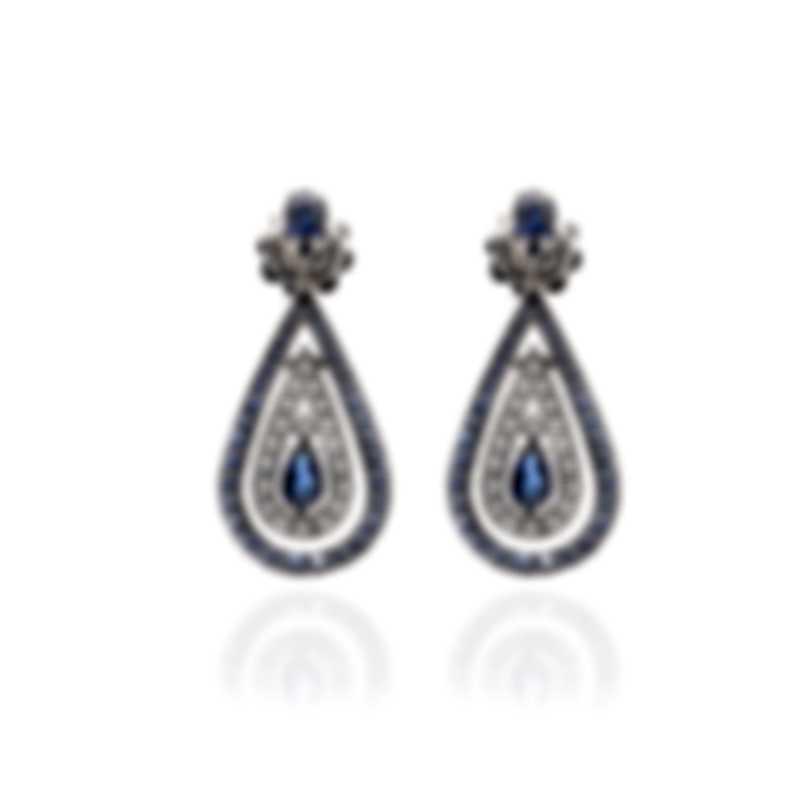 Damiani Regina Cleopatra 18k White Gold Diamond 0.38ct And Sapphire Earrings 20046458