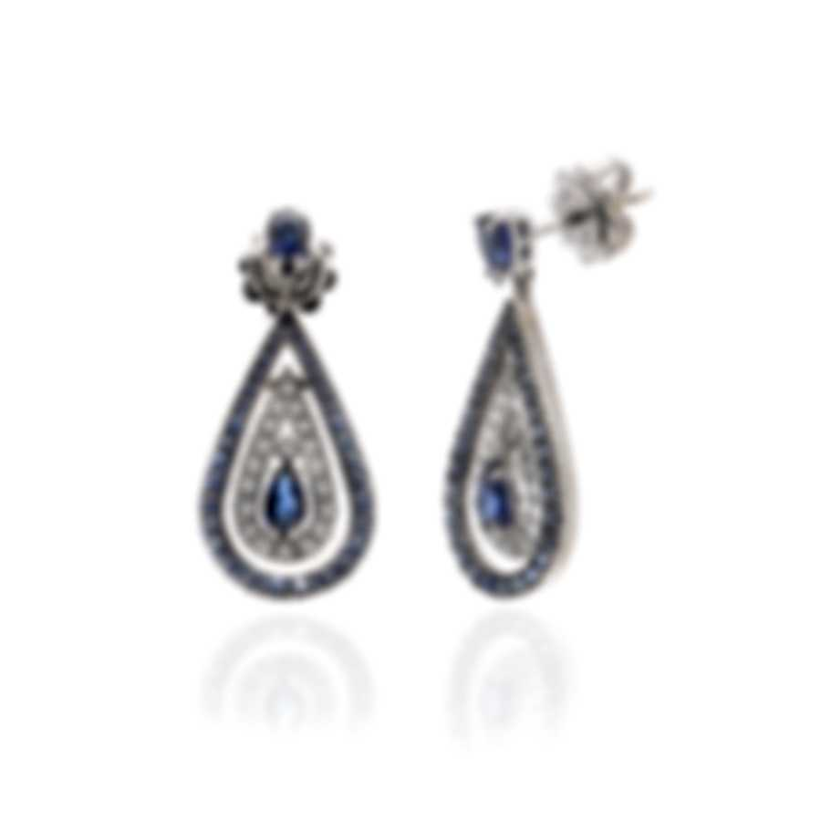 Damiani Regina Cleopatra 18k White Gold Diamond 0.38ct And Sapphire Earrings 20046458