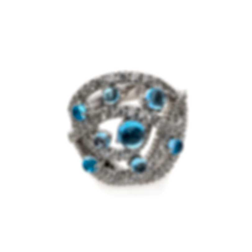 Damiani 18k White Gold Diamond 1.98ct And Topaz Ring Sz 7 20047015