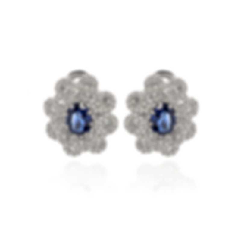 Damiani 18k White Gold Diamond 1.83ct And Sapphire Huggie Earrings 20049165