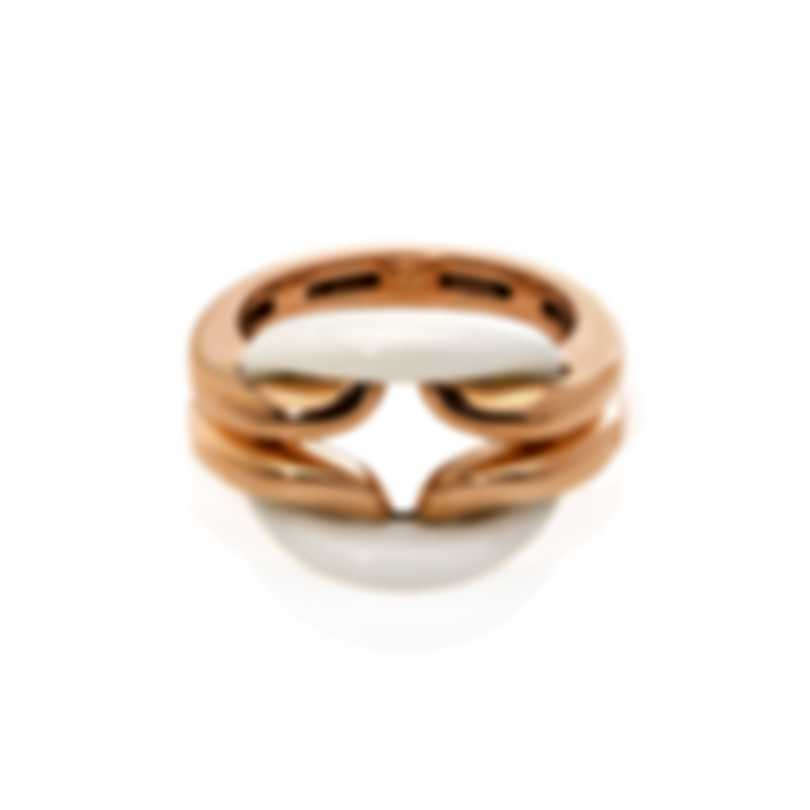 Damiani 18k Rose Gold Diamond 0.005ct And Agate Ring Sz 6 20055294