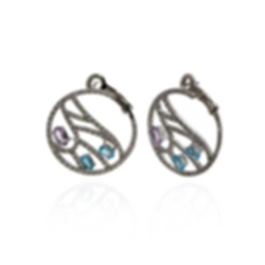 Damiani Battito D'ali 18k White Gold Diamond 1.404ct And Topaz Earrings 20059894