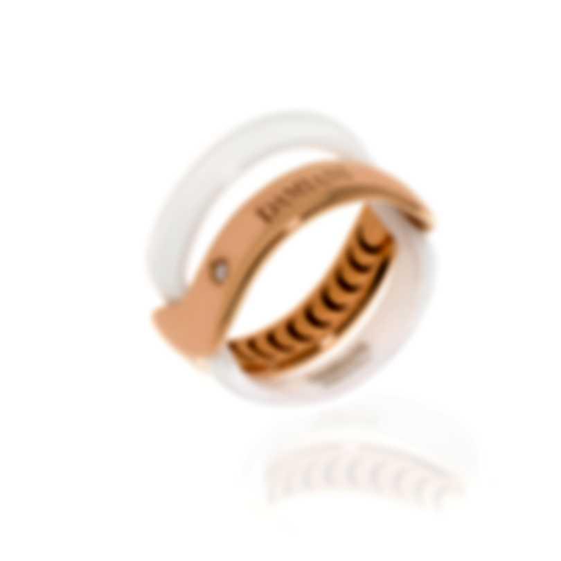 Damiani Abbracio 18k Rose Gold And Ceramic Diamond 0.011ct Ring 20063449