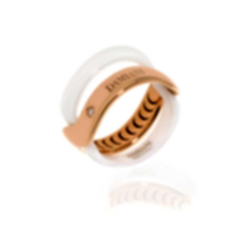 Damiani Abbracio 18k Rose Gold And Ceramic Diamond 0.011ct Ring Sz 6.75 20063449