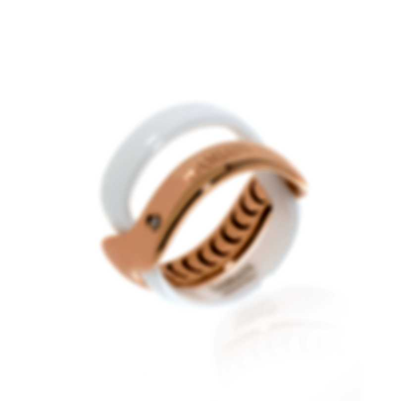 Damiani Abbracio 18k Rose Gold And Ceramic Diamond 0.011ct Ring Sz 6 20063597