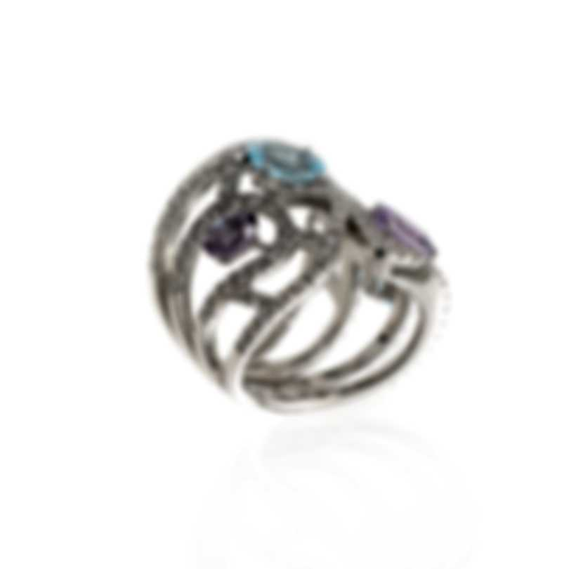 Damiani Battito D'ali 18k White Gold Diamond 1.541ct And Amethyst Ring Sz 7 20063243