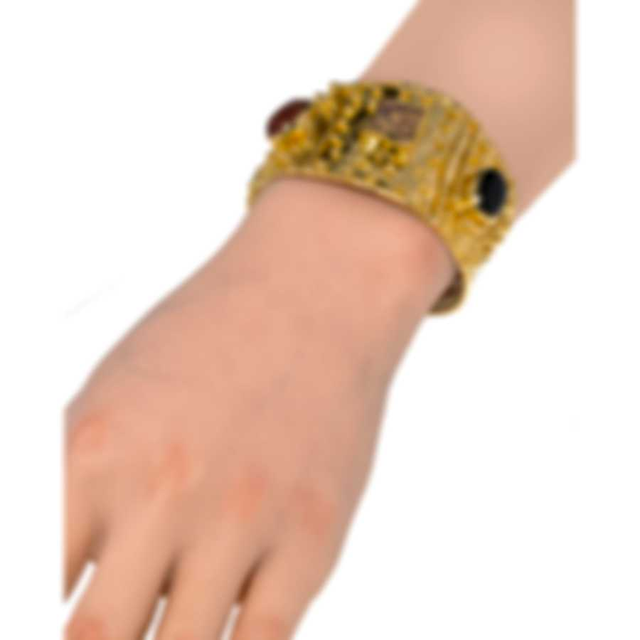Devon Leigh 18K Gold Plated Brass And Wood And Black Onyx Cuff Bracelet CUFF275