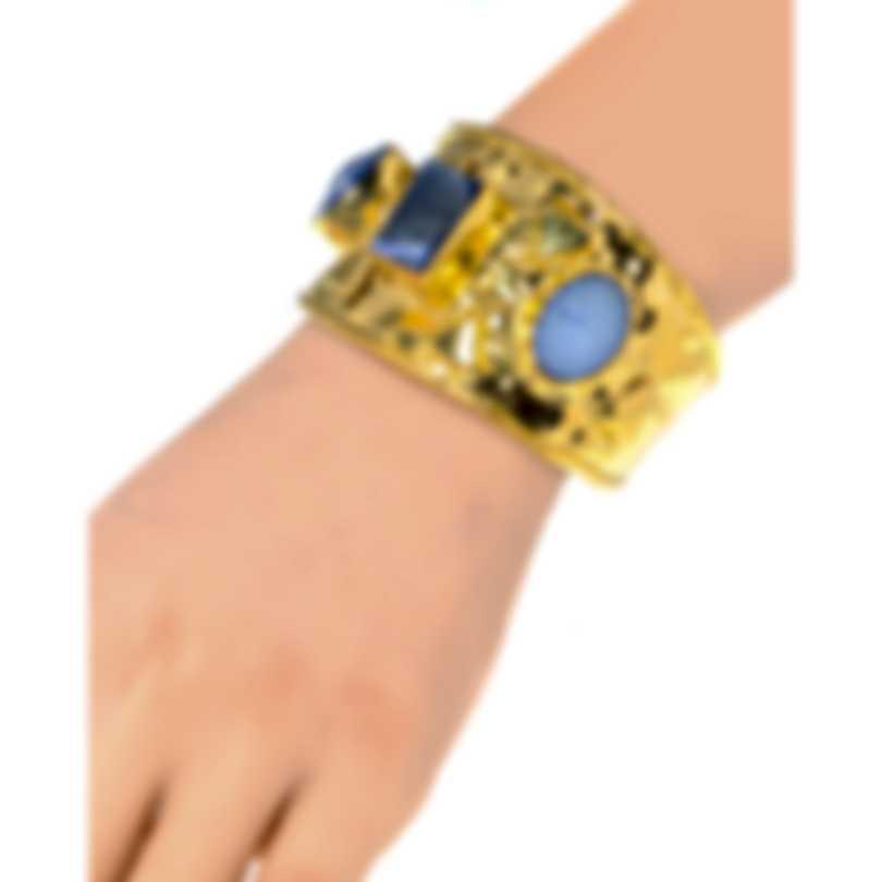 Devon Leigh 18k Gold Plated Brass And Drusy Cuff Bracelet CUFF62-BL