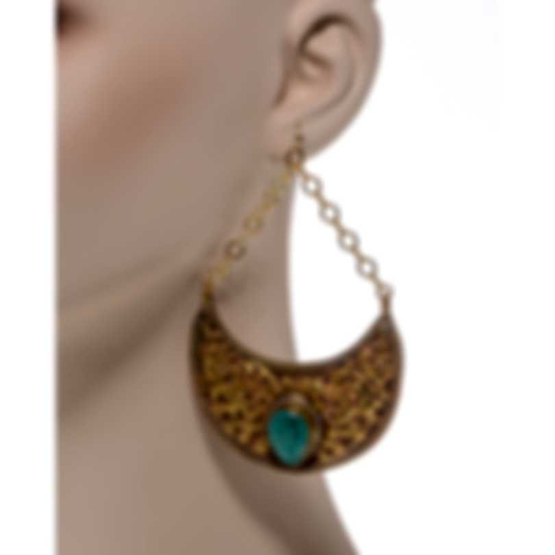 Devon Leigh 24k Gold Plated Brass And Turquoise Dangle Earrings E3457